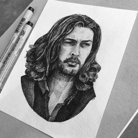 Однако, закончила. Этот человек вдохновляет необычайно. #portrait #drawing #draw #sketch #art #artist #dotwork #linework #hozier @hozier