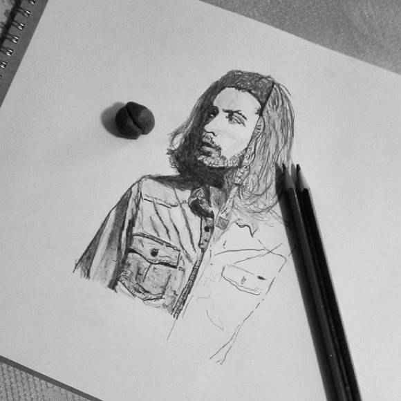 Drawing #Hozier . Yes, the hair is supposed to look like that it just needs more shading. Im combining his album cover with his actual pic, got a lot to finish...emoji #LotsOfShading #Drawing #IHateThisShirt #AlbumCover #Progress