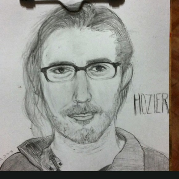 I was watching interviews/videos and realized he wears his glasses in most of them. So I drew glasses on @hozier and I think it is better than it was. 3.28.15 #hozier #hozierfanart #hozierart #hozierdrawing #pencil #portrait