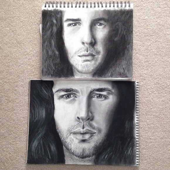 inished collab with @lc18art ! we're seeing hozier in the summer, so we figured we would draw a picture of him and compare. we both used general's charcoal. go follow her!