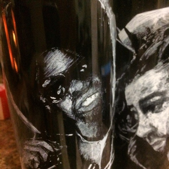 Mac Dre and Hozier, oil painted razor etched on 1.5L Herold wines. #artonabottle #macdre #hozier #napavalley #rap #rocknroll #cabernet #oilpainting #musician