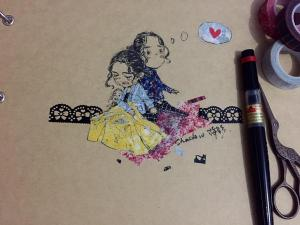 The cover of her sketch pad. Small Shadow and Hozier