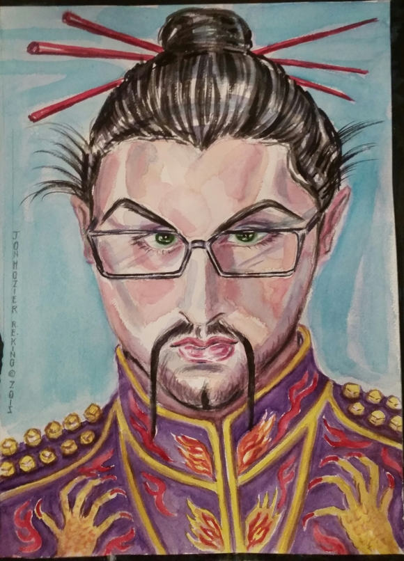 "Jon Hozier Byrne  as an  Imperial Samurai Warrior  ...Arsonist Lullaby  kept ringing in my ears because of his embroidered  fire  ... & dragons signifying The Emperor but also demons. ....""All you have is your fire ....Don't you ever tame your demons, always keep them on a leash."
